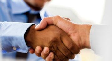 Handshake between procurement and esourcing professionals